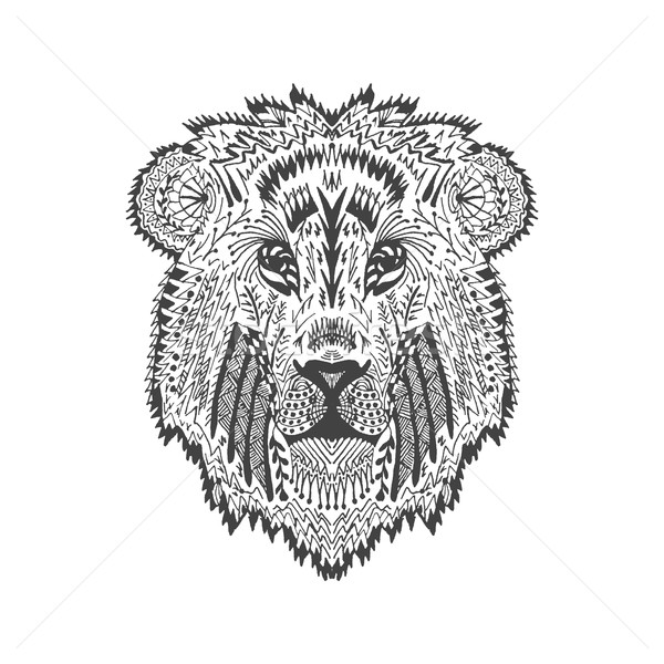 Estilizado leão cabeça animal coleção tenha Foto stock © Fosin
