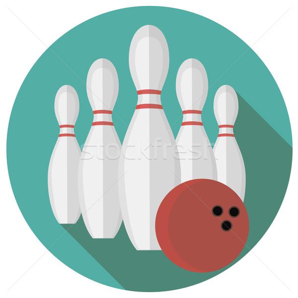 Bowling stil dizayn arka plan eğlence hızlandırmak Stok fotoğraf © Fosin