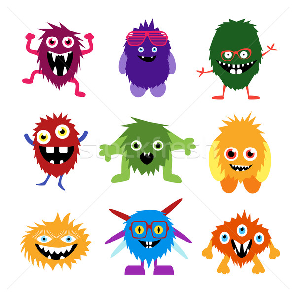 Vector ingesteld cartoon cute monsters illustratie Stockfoto © Fosin