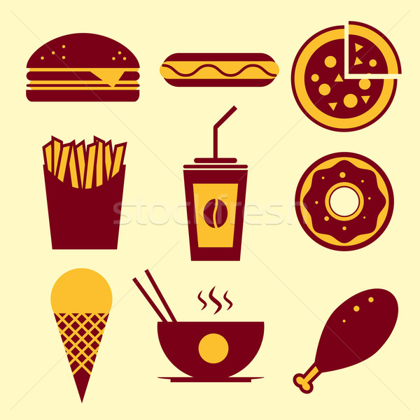 Stockfoto: Fast · food · vector · hamburger · ijs · koffie
