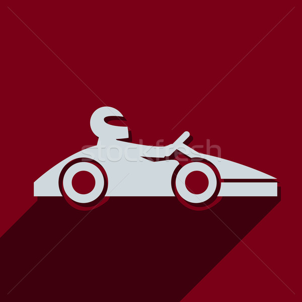 Kart with driver icon pictograph Stock photo © Fosin