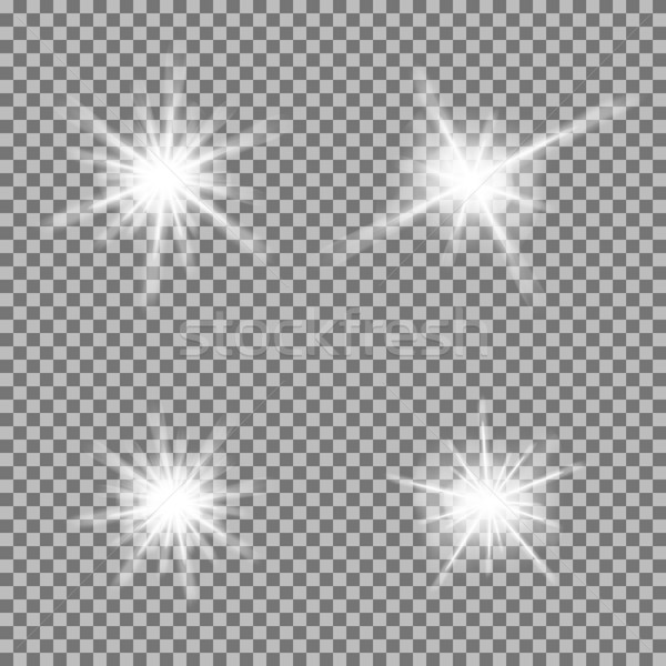Vector set of glowing light bursts with sparkles on transparent background Stock photo © Fosin