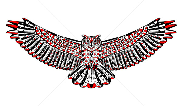 Stylisé eagle owl croquis tatouage tshirt animaux Photo stock © Fosin