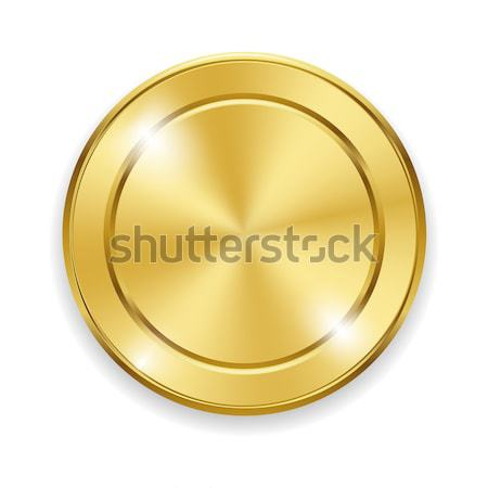 Blank round polished gold metal badge on white background. Vector illustration for your design and b Stock photo © Fosin