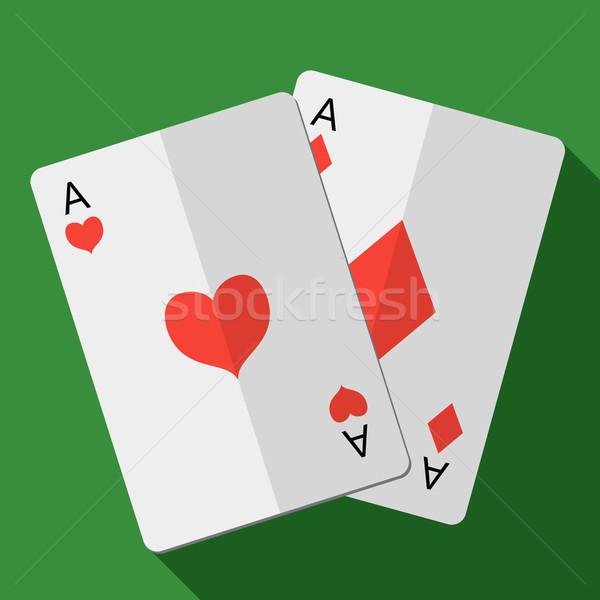 Imprimir cartão par aces coração clube Foto stock © Fosin