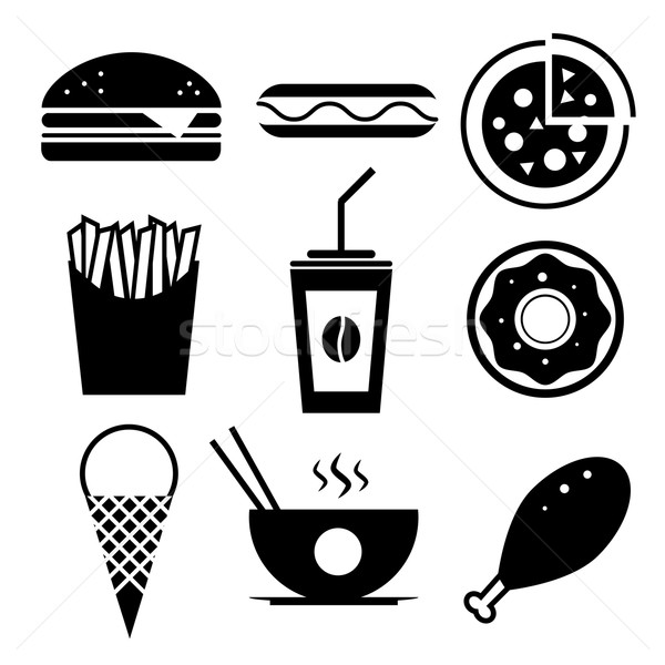 Fast Food Vector Icon Set Burger Ice Cream Coffee Chinese Fo
