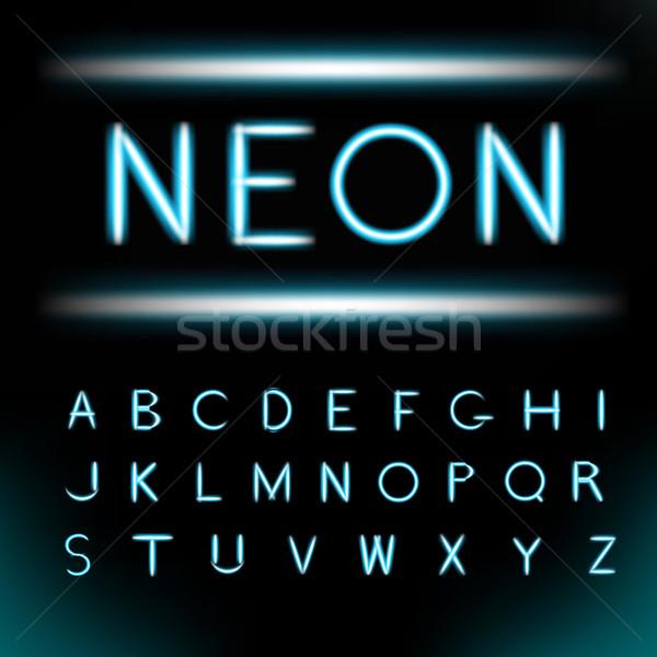 Néon luz alfabeto fonte tipo tubo Foto stock © Fosin