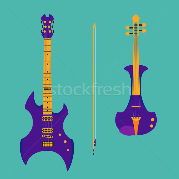 Set of string instruments. Purple electric violin with bow and h Stock photo © Fosin