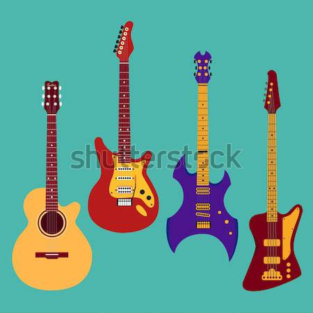 Set of string instruments. Electric violin, electric guitar. Iso Stock photo © Fosin