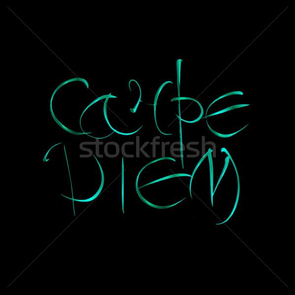 Carpe diem. Latin translation seize the moment. Hand-lettering calligraphy. Stock photo © Fosin