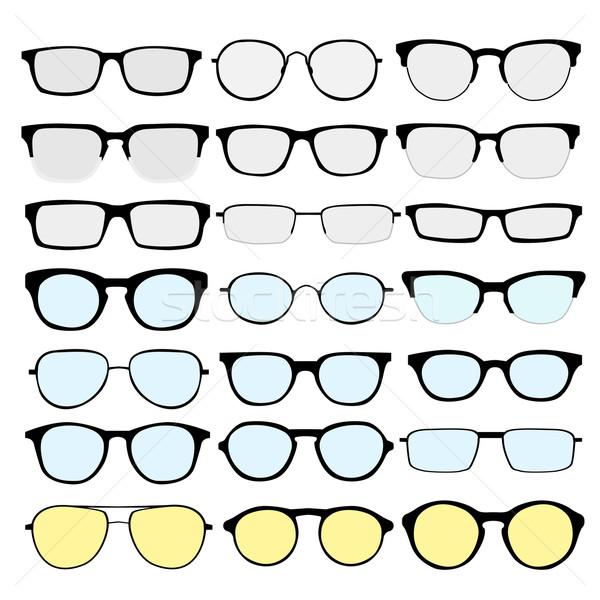 Gözlük vektör ayarlamak farklı beyaz Retro Stok fotoğraf © Fosin