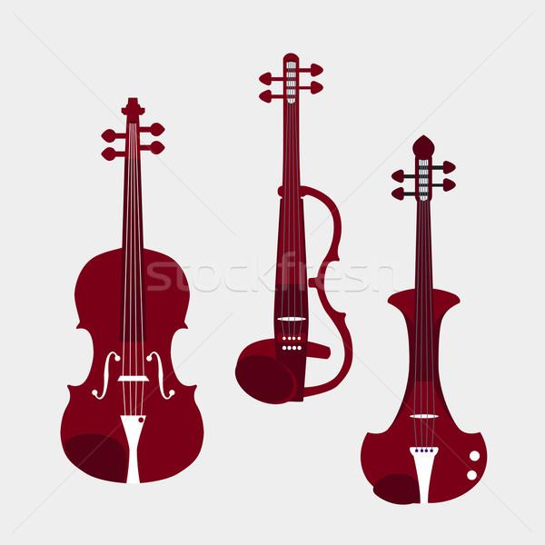 バイオリン セット 異なる クラシカル 電気 孤立した ストックフォト © Fosin