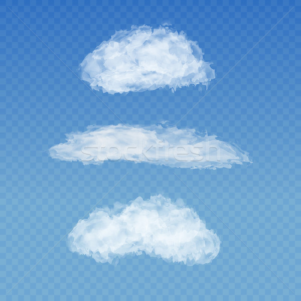 Set of realistic transparent white clouds on a plaid blue sky background Stock photo © Fosin