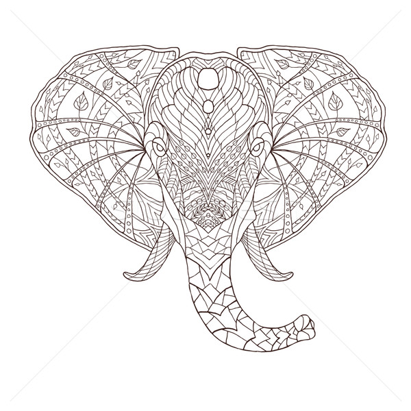 Elephant. Ethnic patterned vector illustration. African, indian, totem, tribal, zentangle design Stock photo © Fosin