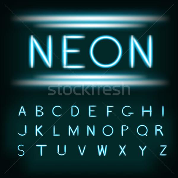 Neon fény ábécé betűtípus cső Stock fotó © Fosin