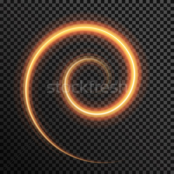 Vector fire sparkle spiral wave line with flying sparkling flash lights Stock photo © Fosin