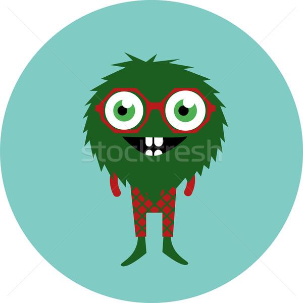 Freaky cute retro hipster alien monster Stock photo © Fosin
