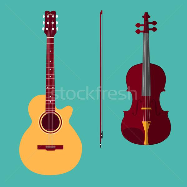 Keman gitar ayarlamak dizi klasik yay Stok fotoğraf © Fosin