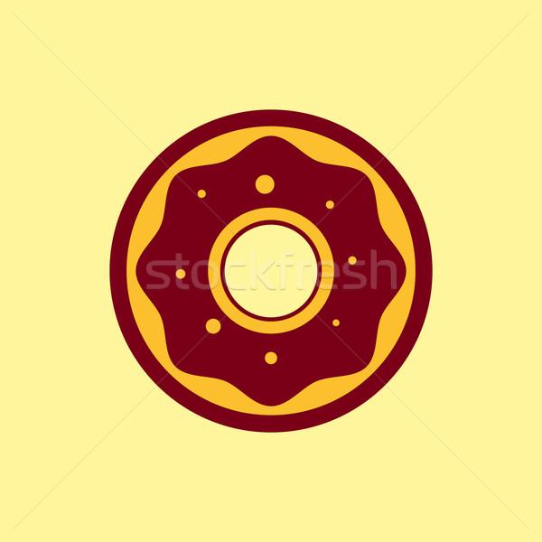 Fast-food vetor ícone rosquinha pictograma chocolate Foto stock © Fosin