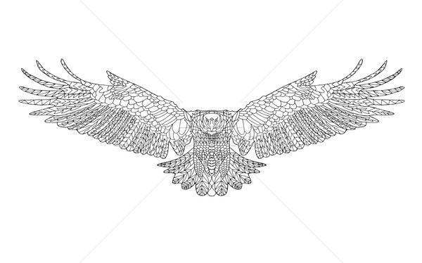 Zentangle stylized eagle. Sketch for coloring page, tattoo or t-shirt. Stock photo © Fosin
