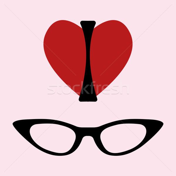 Sevmek gözlük baskı siluet kadın biçim Stok fotoğraf © Fosin
