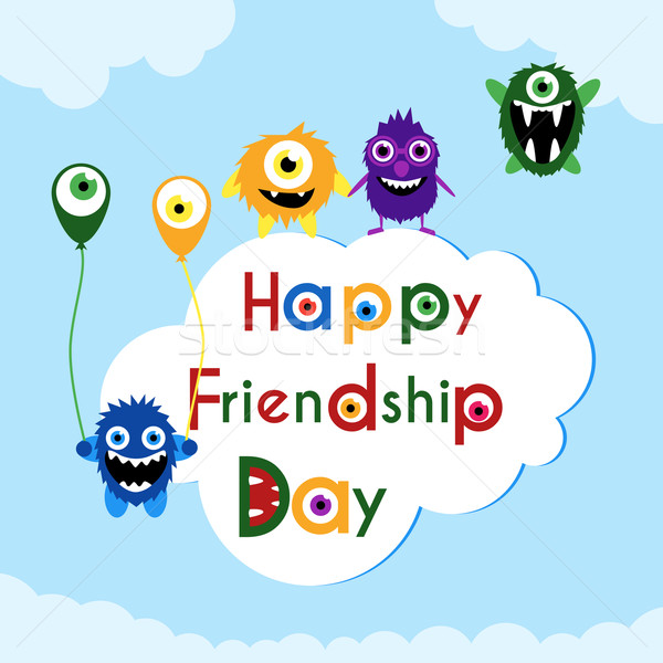 Friendship day greeting card with cute monsters . Stock photo © Fosin