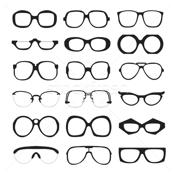 Stock fotó: Vektor · szett · szemüveg · retro · stréber · hipszter