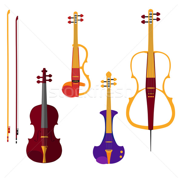 Set of different violins and cello with bows on white backgound Stock photo © Fosin