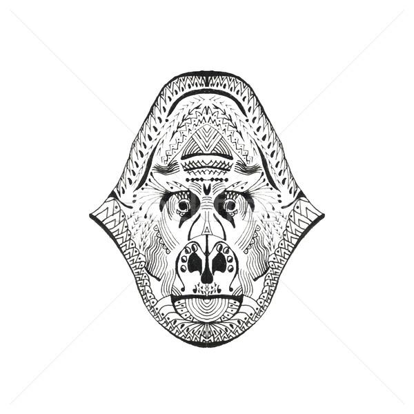Estilizado macaco cabeça animal coleção gorila Foto stock © Fosin