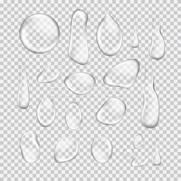 Transparent water drop set on light gray background Stock photo © Fosin
