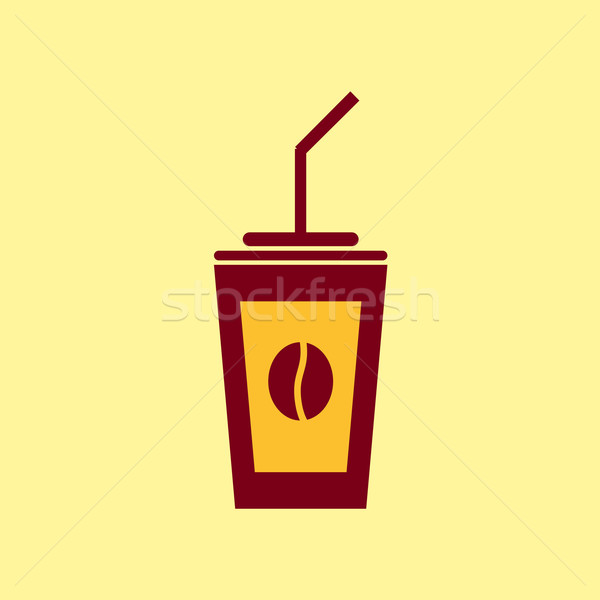Fast food vector icon koffie pictogram voedsel Stockfoto © Fosin