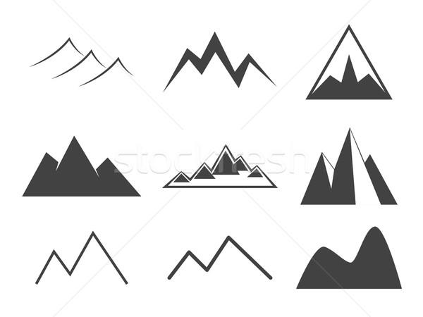 Dağ hat ikon bağbozumu siluet Stok fotoğraf © Fosin