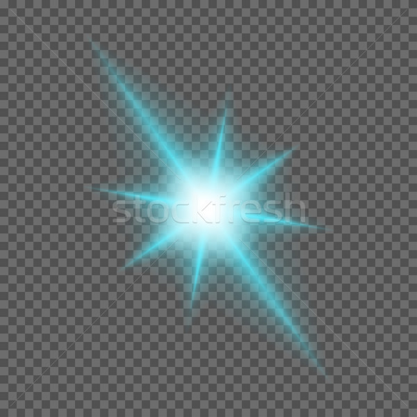 Vector glowing light bursts with sparkles on transparent background Stock photo © Fosin