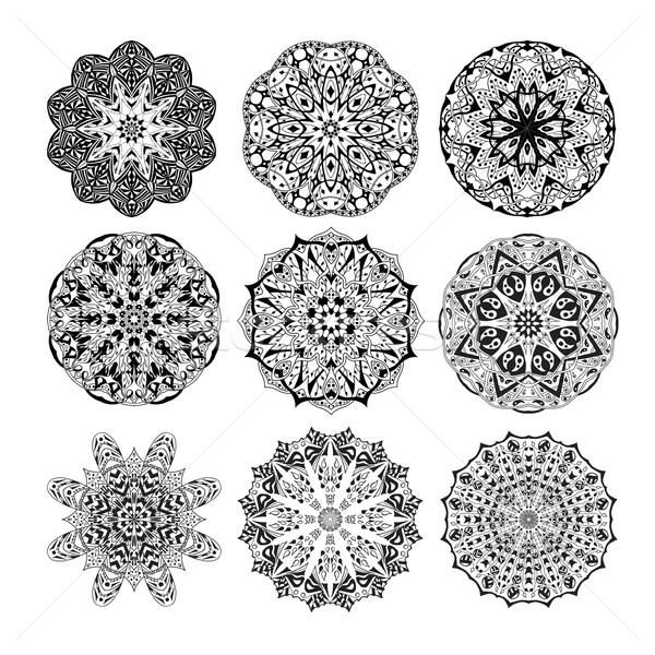 曼陀羅 セット フローラル 民族 抽象的な 装飾的な ストックフォト © Fosin