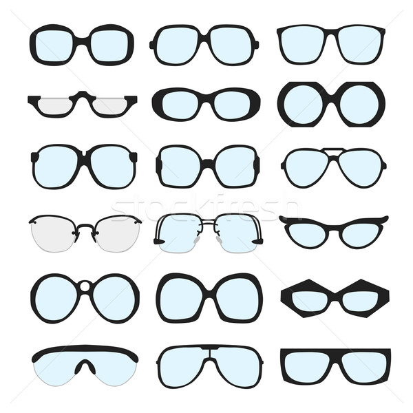 Vector set of different glasses with lenses on white background Stock photo © Fosin