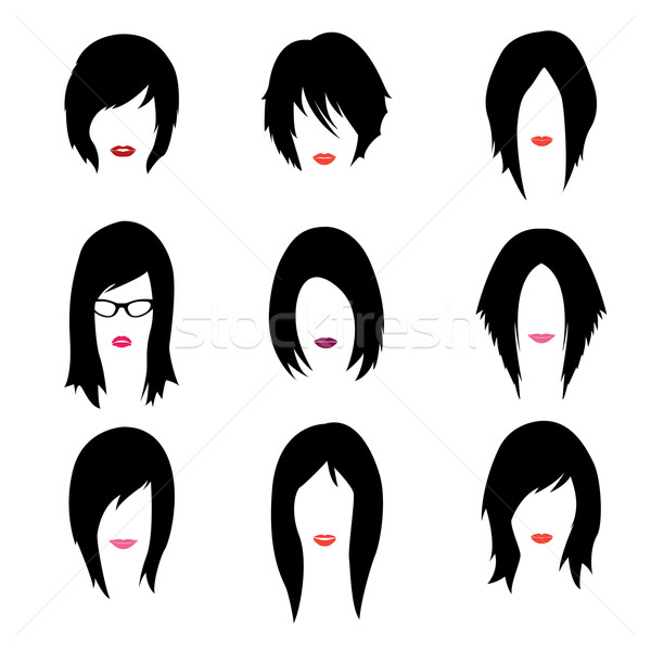 Vector set of woman hipster style haircut, glasses and lips Stock photo © Fosin