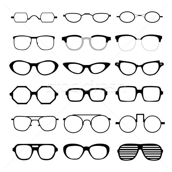 Stok fotoğraf: Vektör · ayarlamak · farklı · gözlük · beyaz · güneş