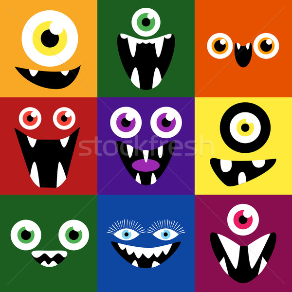 Cartoon monster faces vector set. Cute square avatars and icons Stock photo © Fosin
