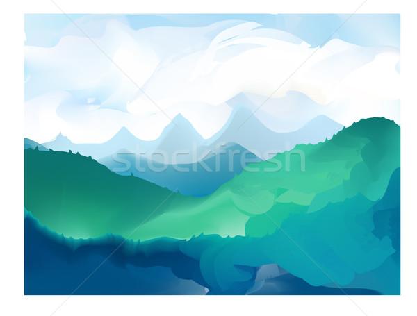 Panorama vector illustration of mountain ridges Stock photo © Fosin