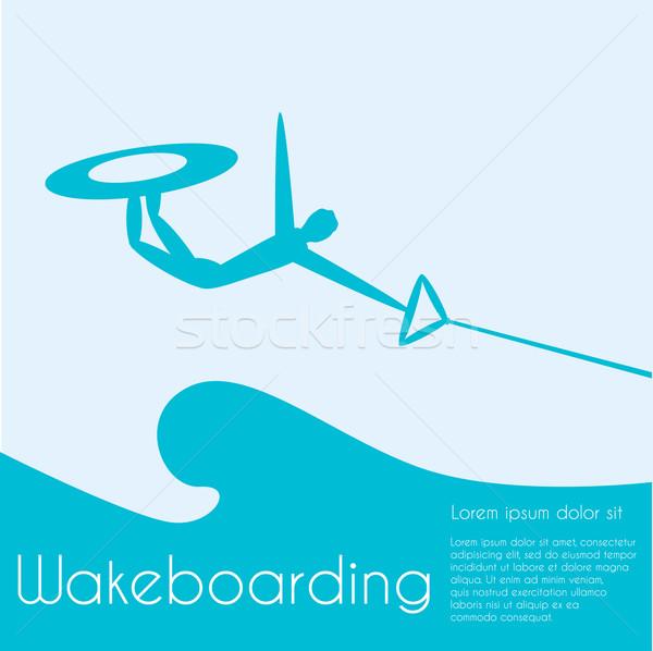 Extrém sportok sziluett személy ugrik víz Stock fotó © Fosin