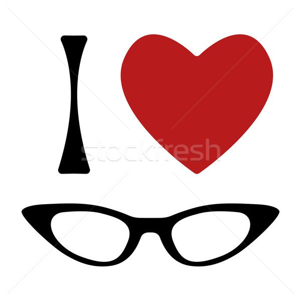 Sevmek gözlük baskı biçim kalp kedi Stok fotoğraf © Fosin