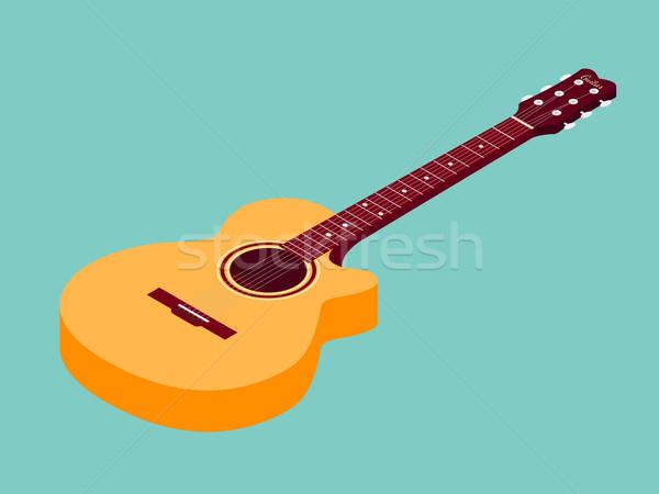 Isometric classical acoustic guitar icon Stock photo © Fosin