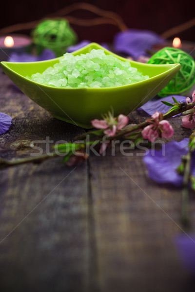 Spa concept closeup green bathing salt Stock photo © fotoaloja