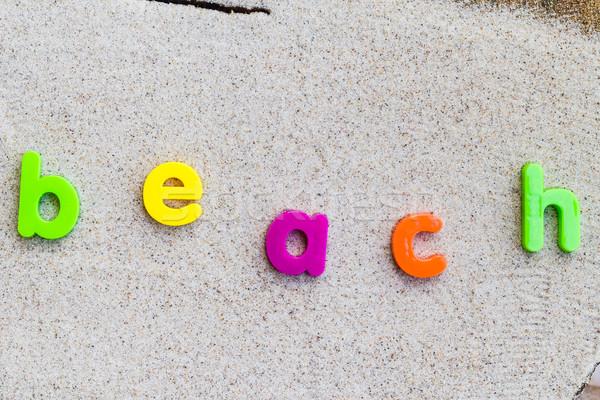 The word beach laid sand Stock photo © fotoaloja