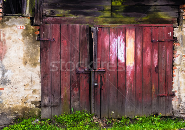 Ruined brick wall closed steel door Stock photo © fotoaloja