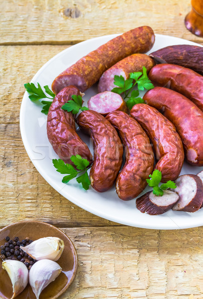 plate full various species sausages Stock photo © fotoaloja
