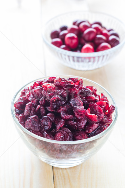 Cranberries wooden glass bowl berry Stock photo © fotoaloja