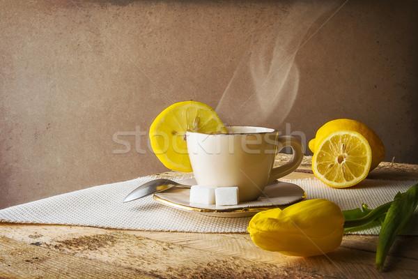 натюрморт горячей Кубок чай лимоны цветок Сток-фото © fotoaloja