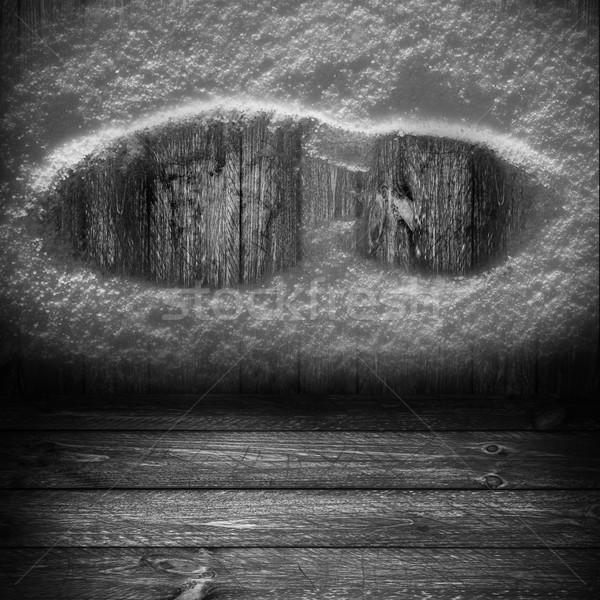 Background wooden panel boards grey shoe print snow Stock photo © fotoaloja