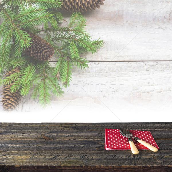 クリスマス 木製のテーブル 食器 表 デスク ストックフォト © fotoaloja